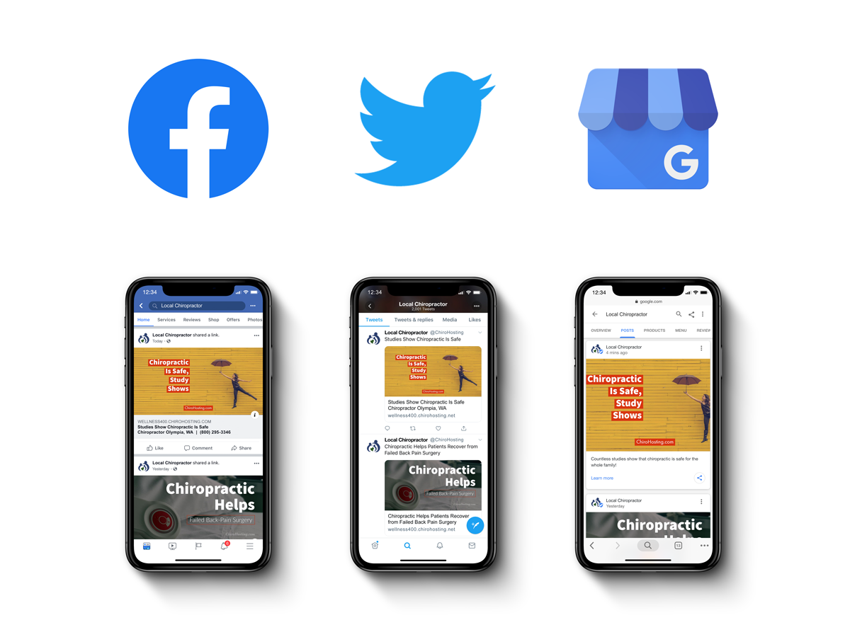 ChiroHosting - Automated Chiropractic Social Media - Automatically share images, articles, and videos to your Facebook, Twitter, and Google My Business