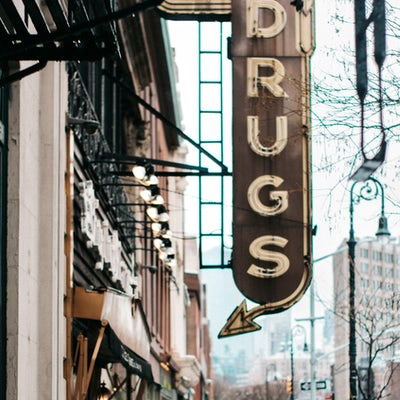 Store marquee reads DRUGS