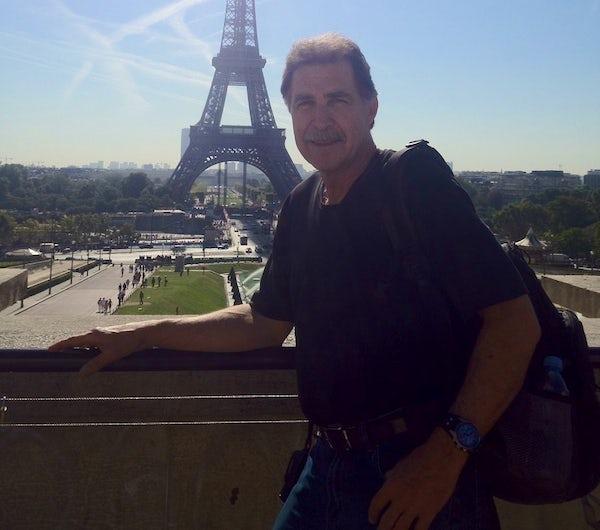 Dr. Edward Chudzikiewicz in Paris, in front of the Eiffel Tower