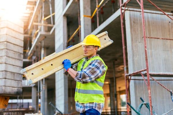 Hard working construction worker