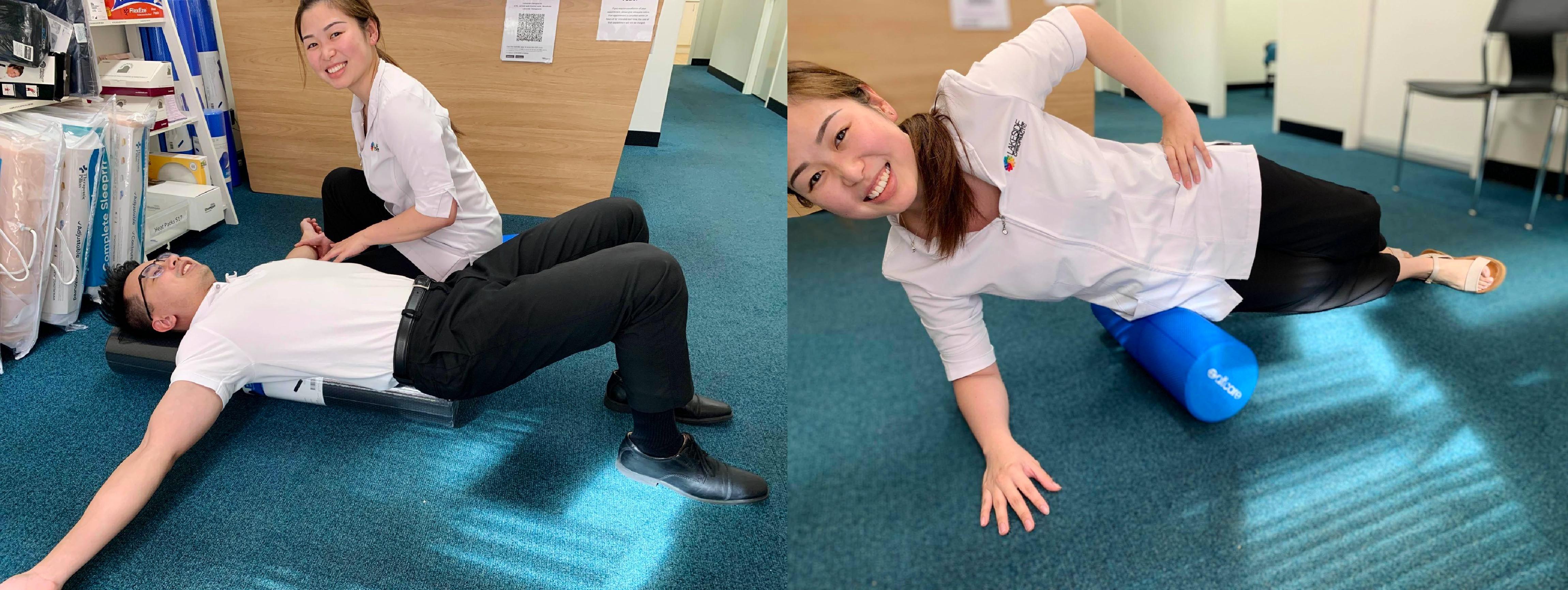 foam rolling on floor